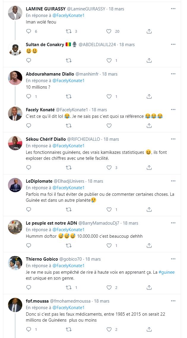 Une capture de quelques réponses au tweet faites par des internautes guinéens sur cette déclaration de Dr Manizé Kolié. (C) GuineeCheck.org